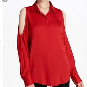 Donna Karan Cold Shoulder Stretch Silk Blouse